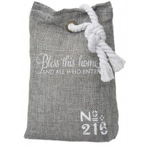 Sujetapuertas Decorativo Textil 1,3kg , Gris, Diseño de saco con Estilo Original/Moderno, Frase Motivadora 17x7x12cm