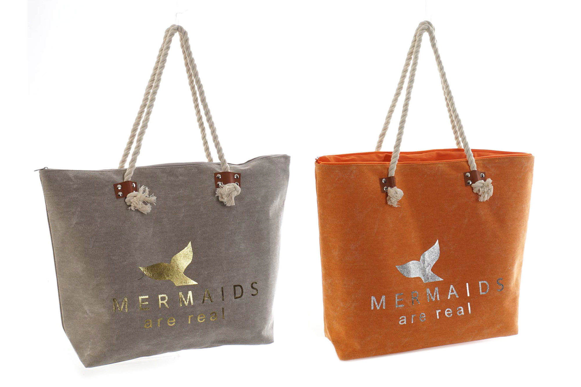 "Bag Women Canvas ""Mermaids are real"", Bag technology for Storage of a large capacity 51x13x38 cm"
