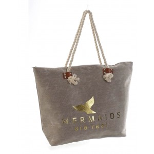 """Bag Women Canvas """"Mermaids are real"""", Bag technology for Storage of a large capacity 51x13x38 cm"""