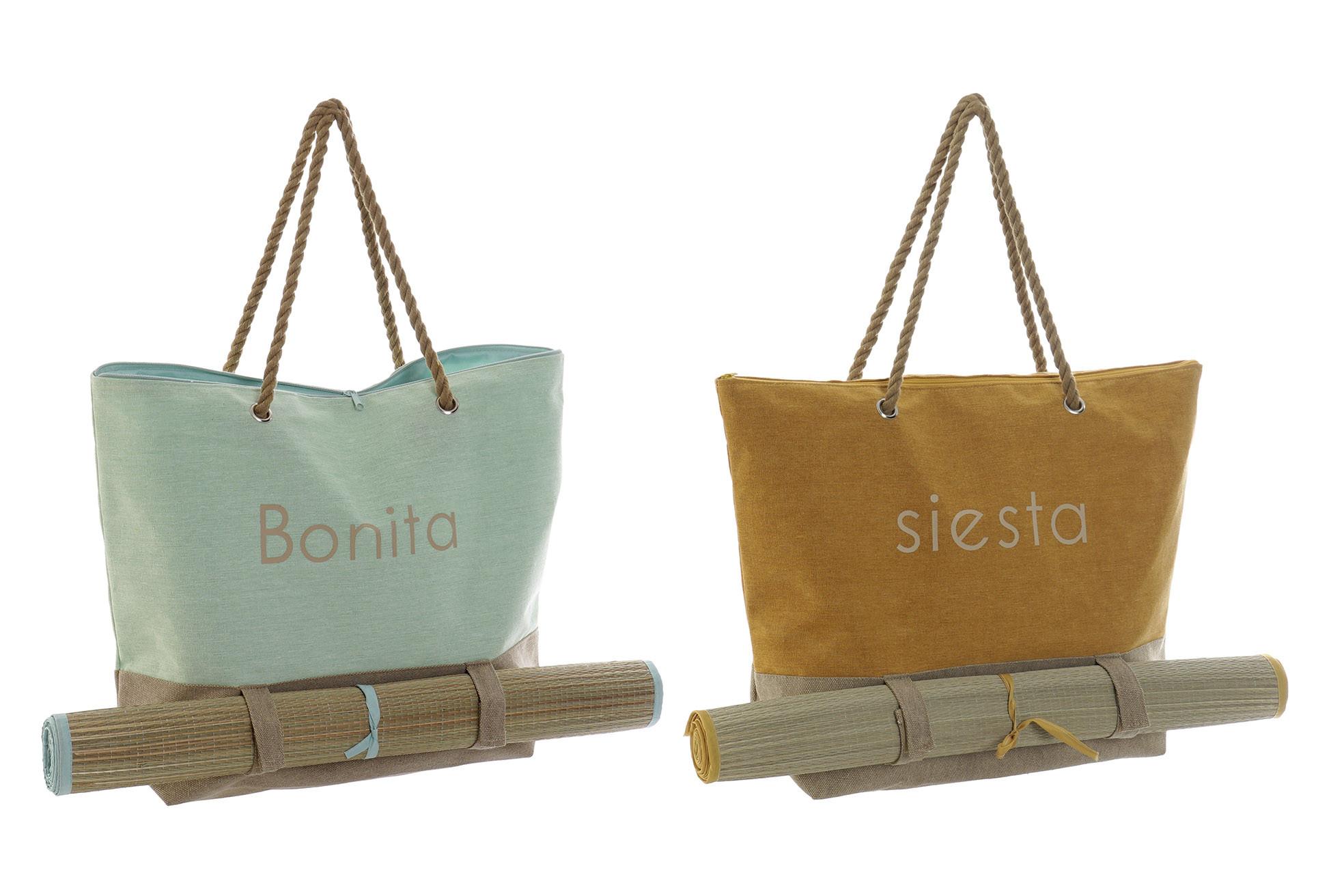 Bolso Mujer con Esterilla de Lienzo y Algodón, Bolsa de almacenaje de gran capacidad 60x16x39 cm