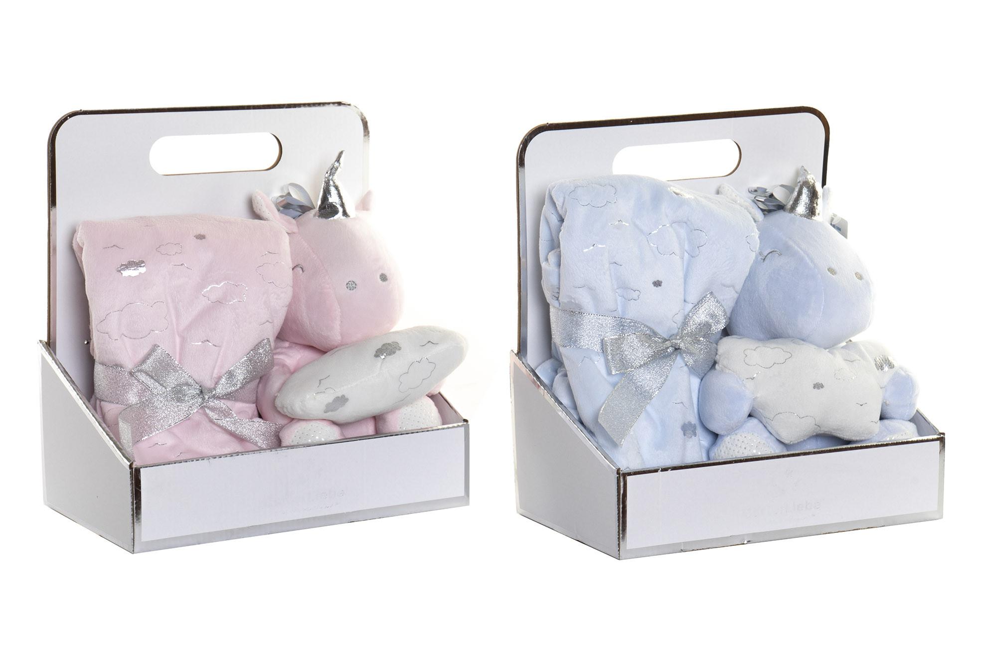 Peluche Unicornio con Manta para Bebés, Regalo recién Nacido. Manta Bebé Suave 18x18x27 cm
