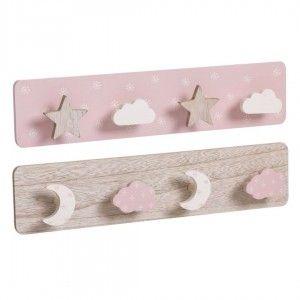 Coat rack Wall Pink Children's Wood to Children, 4 Hooks. Original design/Clouds 40x4,5x9 cm
