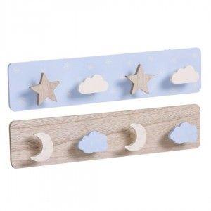 Perchero Pared Azul Infantil de Madera para Niños, 4 Ganchos. Diseño Original/Nubes 40x4,5x9 cm