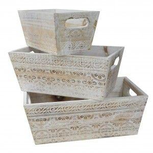 Macetero Decorativo de Madera Vintage Set 3, Cajas de Almacenamiento para Jardín 17,5x29x11,5 cm