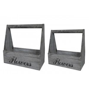 """Planter box Timber Grey with Patina, White, Natural Wood, Set of 2 flower Pots """"Flowers"""", Vintage Style 29x13x30cm - Home and"""