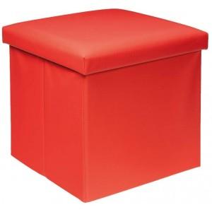 Puff Asiento Almacenaje Acolchado, de color Rojo en Polipiel. Diseño Elegante/Práctico  38x38x38cm.-Hogarymas-