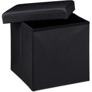 Puff Asiento Almacenaje Acolchado, de color Negro. Diseño Elegante/Práctico  38x38x38cm.-Hogarymas-