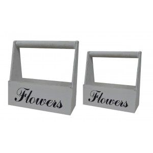 "Planter Wooden White distressed Finish, Natural Wood, Set of 2 flower Pots ""Flowers"", Vintage 29x13x30cm - Home and More"