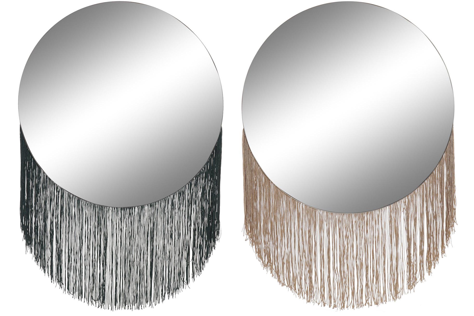Espejo Circular con Flecos Pared, Espejo Pared Decorativo para Dormitorio. Decoración Moderna Hogar 40x58 cm
