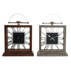 Clock Desktop Vintage of Wood and Metal, Analog clock for Table use. Home decoration Original 26,5x9x36 cm