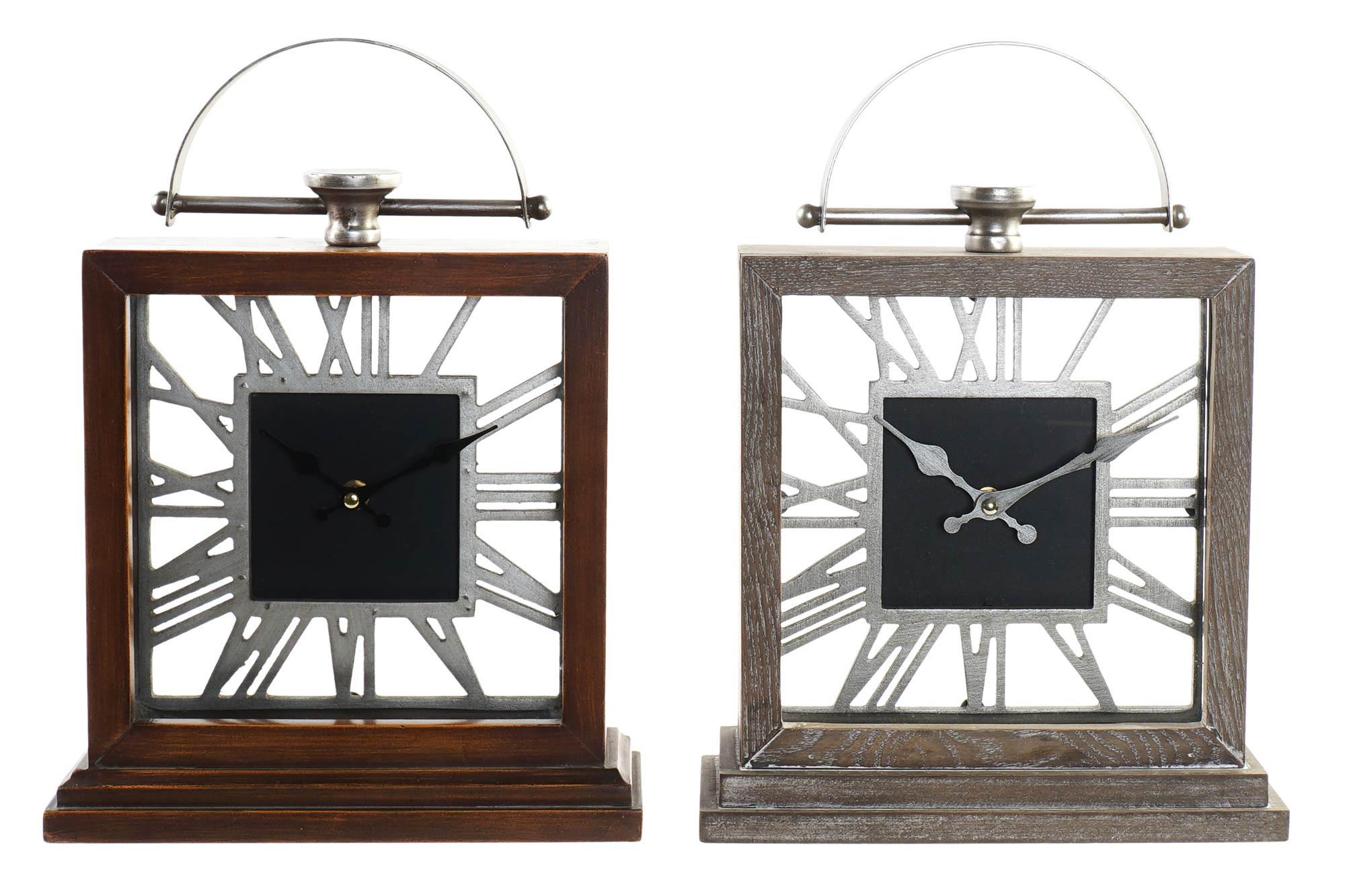 Reloj Sobremesa Vintage de Madera y Metal, Relojes Analógicos para Mesa. Decoración Hogar Original 26,5x9x36 cm