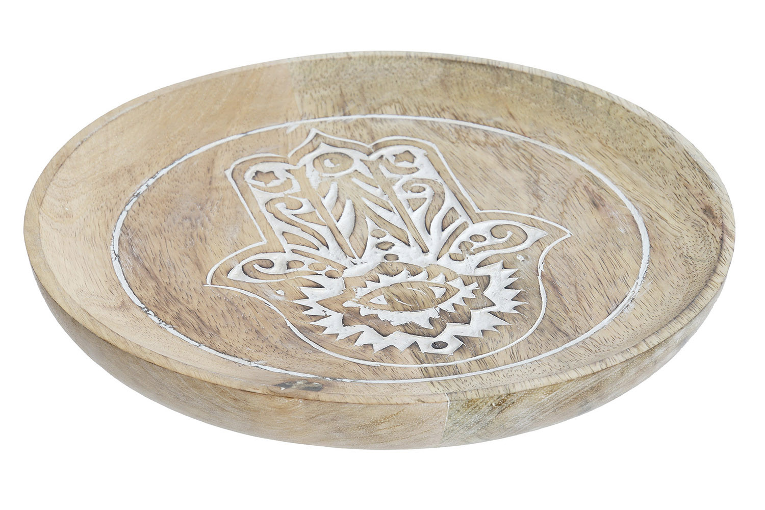 Tray Vaciabolsillos Wooden Handle with Scrape and Circular in Shape with Design Hand of Fatima, 20,5x20,5x2,5 -Home and More