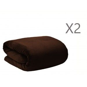 Fleece blanket Brown for Sofa or Bed 100% polyester Set of 2, Extra Texture Soft a 190x130 cm