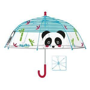 Paraguas Largo Infantil, Paraguas Originales Transparente con Estampado Animal, Panda. Manual y con Varillas Antiviento ø64cm