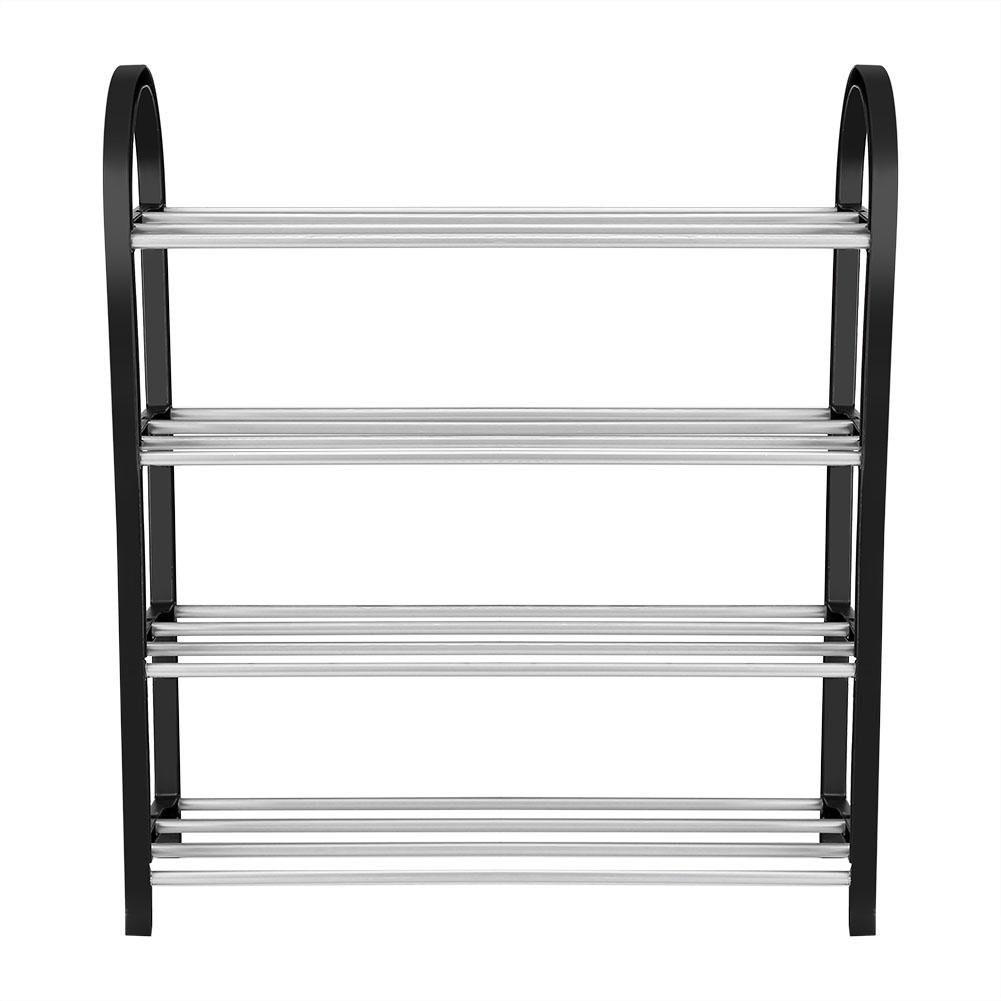 Shoe rack 4 shelves made of PVC /ALUMINUM black bedroom Home and More