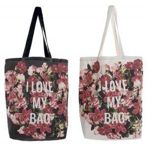 "Reusable bag Shoulder Women Floral Print ""I Love My Bag"". Add Modern/Elegant 43X15X66cm. - Home and More"