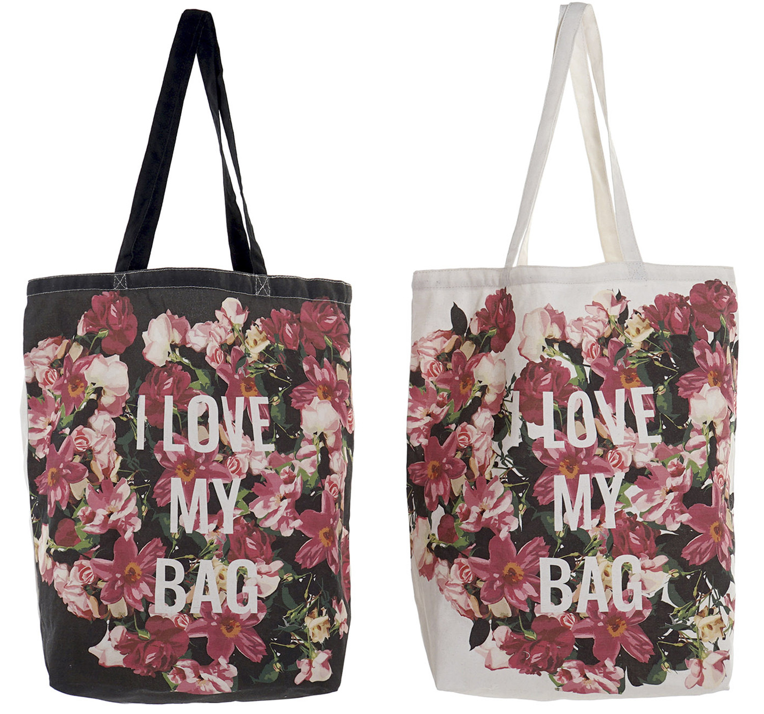 "Reusable bag Shoulder Women Floral Print ""I Love My Bag"". Add Modern/Elegant 43X15X66cm. - Home and More"