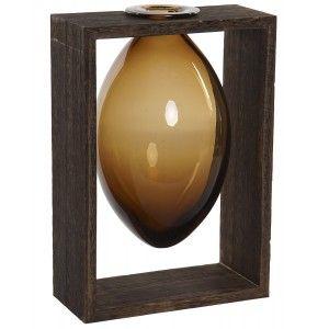 Macetero Interior Decorativo de Cristal, Soporte de Madera para Mesa. Diseño Colonial/Moderno 17,5x12x26 cm.- Hogar y Más