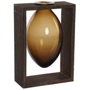 Planter, Interior Decorative Glass, Wooden Support for the Table. Colonial design/Modern 17,5x12x26 cm - Home and More