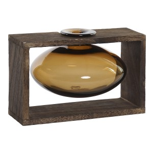 Planter, Interior Decorative Glass, Wooden Support for the Table. Colonial design/Modern 22X16X15 cm - Home and More