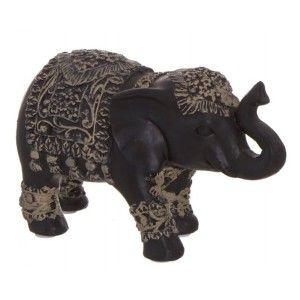 Elefante de la suerte Negro Decorativo de Terracota para decoración. Figuras Originales 15X5,5X8,5 cm