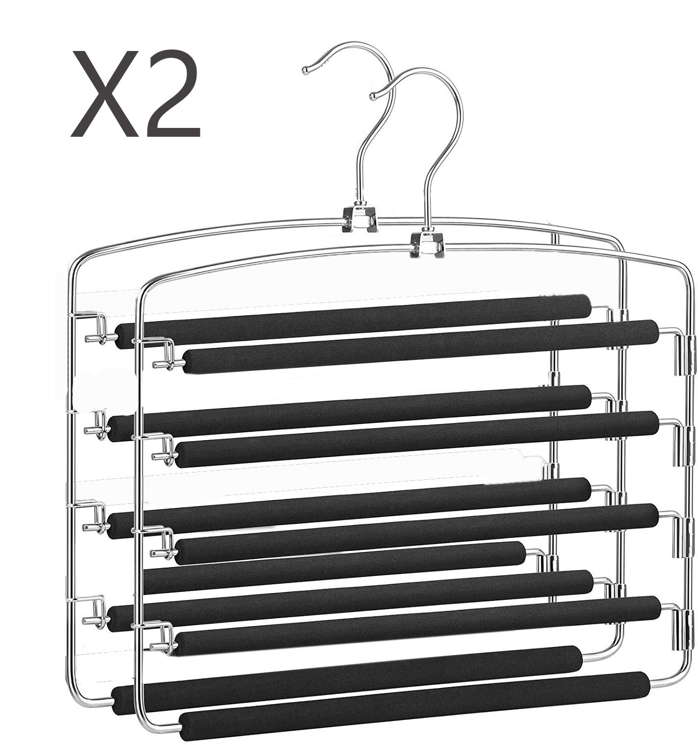Hangers for Pants Metal Set of 2, Perches Multiple non-Slip and padded. Hanger Multiple Metal Pack 2