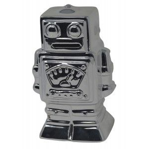 Piggy bank Robot Silver Ceramic for Children. Piggy banks, Children's Original Figure of Robot piggy Bank Decoration 17x8x10 cm