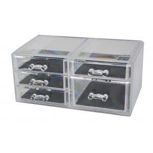 Joyero Organizador Transparente de Metacrilato, 5 Cajones, Caja Almacenaje, Diseño Original/Elegante 23,5x11x13,5cm