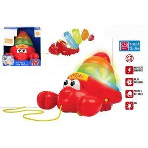 Arrastre Musical Cangrejo Multicolor con Luces y Sonidos. Juguetes Infantiles para Bebés, Juego Arrastre 215 x 215 x 185 mm