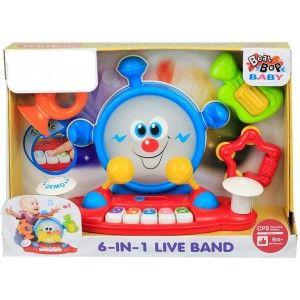Centro de Música 6 en 1 Infantil Luces y Sonidos, Piano Juguete Musical para Bebés Multifunción 485 x 150 x 340 cm