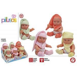Muñeco Bebé de Juguete con Sonido para niños. Muñeco Ariculado 24 cm Bebé con pijama Infantil, juguetes.