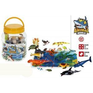 Animales Bote con 22 Accesorios, Figuras de Animales Infantiles. Juguetes para niños 155 x 155 x 205 mm