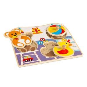 Wooden Puzzle Children Animals, 4 Pieces, Puzzles for Babies-Original, Toys for Children +12M (225 x 20 x 210 mm)