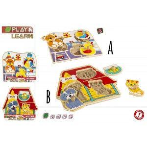 Puzzle de Madera Infantil de Animales, 4 Piezas, Puzzles para Bebés Originales, Juguetes Infantiles +12M (225 x 20 x 210 mm)