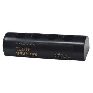Portacepillos de dientes, de Resina Negro, Portacepillos 4 cepillos, Diseño Elegante y Moderno. 13x4x3cm - Hogar y Más