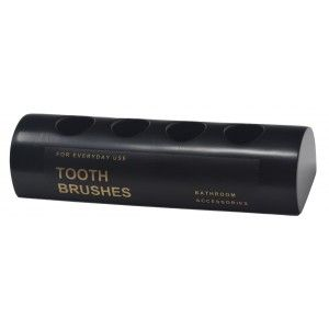 Toothbrush holder, Resin Black, Portacepillos 4 brushes, Sleek and Modern Design. 13x4x3cm - Home and More