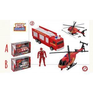 Vehículos de Bomberos, Fuerzas de Rescate. Juguete Infantil Helicóptero y Figura Bombero 320 x 97 x 193 mm