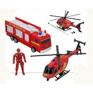 Vehicles of the Fire brigade, Forces of Rescue. Children's toy Helicopter and Figure Firefighter 320 x 97 x 193 mm