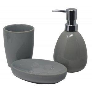 Set/Bath Set 3 Pieces in Ceramic, Grey Colour. Modern and Elegant design. Glass, Dispenser and Tray of bath -Hogarymas