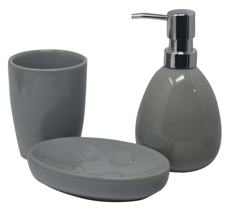 Juego/Set de Baño 3 Piezas en Cerámica, Color Gris. Diseño Moderno y Elegante. Vaso, Dispensador y Bandeja de baño -Hogarymas