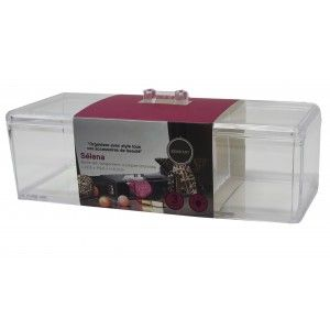 Joyero Organizador Transparente de Metacrilato, 3 compartimentos, Caja Almacenaje, Diseño Original/Elegante 22,8x9,5x6,3cm
