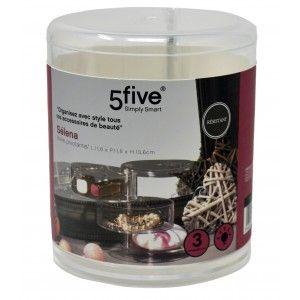 Jewelry Organizer Clear Acrylic 3 compartments Box Storage, Round, Original Design/Elegant 11,6x11,6x13,6cm