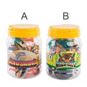 Animales Salvajes/Dinosaurios Bote de 18 Figuras Animales Rígidas Set Infantil, Juguetes para niños  6X3 cm