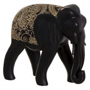 Elefante de la suerte en color Negro de Madera con detalles dorados para decoración 19X6X18cm -Hogar y mas