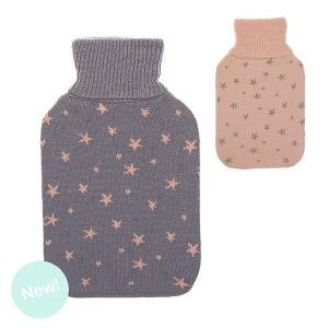 Hot Water bag Rubber Cover with Stars Design, Modern 16x4x17cm 2L - Home and More