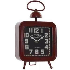 Table clock Vintage Decorative Clock Desktop Goal Square. Distressed finish Vintage Design 15,5X6X27cm Home and More