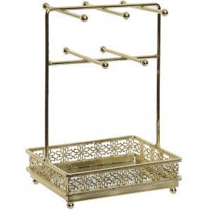 Jewelry box Gold tone Metal with Mirror, Jewelers Original 5 Hooks. Organizer Jewelry Floral 16,5X11,5X24 cm