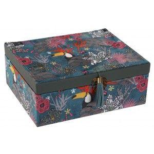 Joyero de Madera Tucán, Caja de Almacenamiento. Organizadores de Joyas. Joyeros Originales Madera Natural 23X17X9 cm