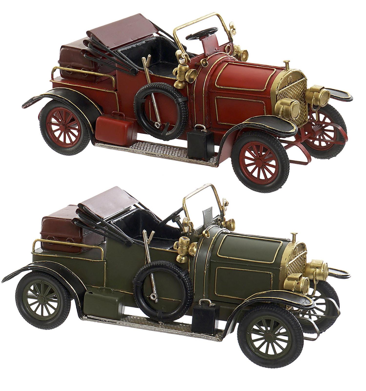Coche/Vehículo Descapotable Vintage, Figura Decorativa de Metal. Diseño Antiguo/Realista 26X10X12 cm