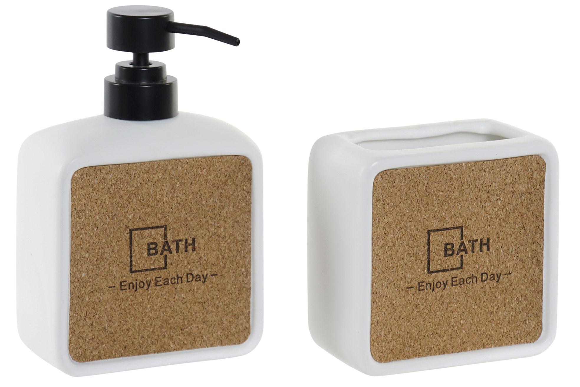 Jabonera y Portacepillos de Porcelana y Corcho, Juegos de Baño Originales Set de 2. Accesorios Baño 10X5X16 cm